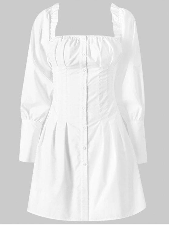 Mini vestido cuadrado con botones - Blanco M