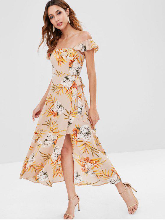 Maxi Robe Florale Superposée à Col Carré - Multi XL