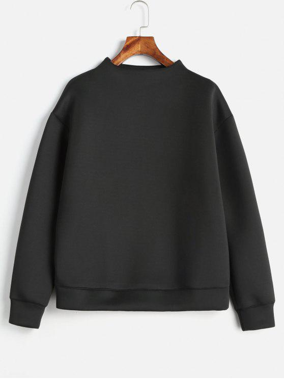 womens Plain Mock Neck Sweatshirt - BLACK M