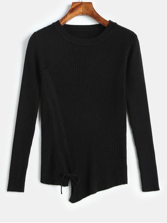 new Drawstring Front Knitted Asymmetric Sweater - BLACK ONE SIZE