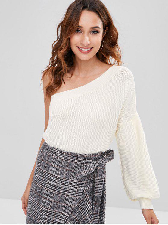Uma camisola de ombro com manga - Branco L