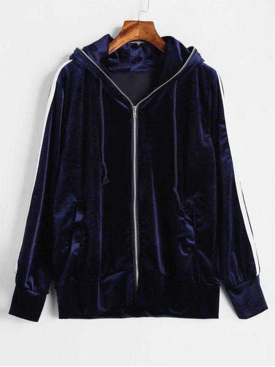 Sudadera con capucha de terciopelo a rayas con contraste - Azul Profundo M
