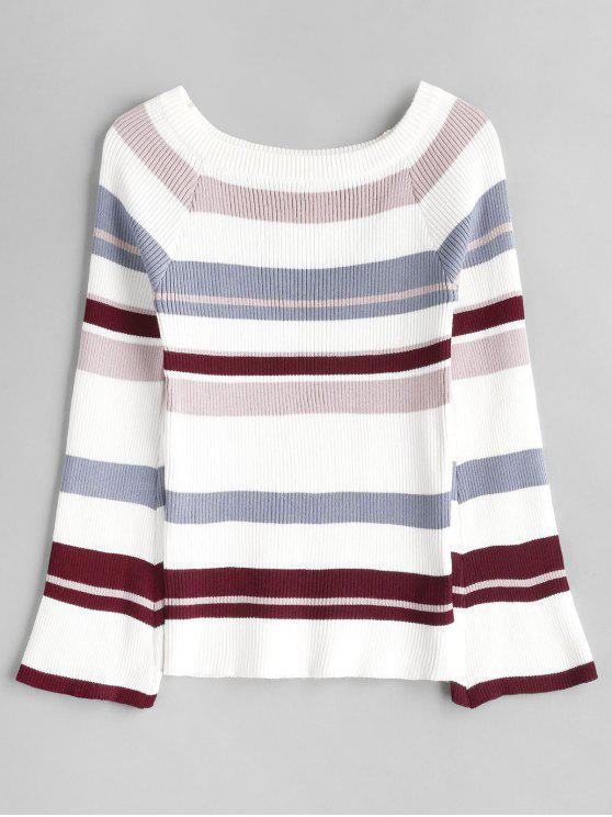 latest Off The Shoulder Striped Knitwear - MULTI ONE SIZE