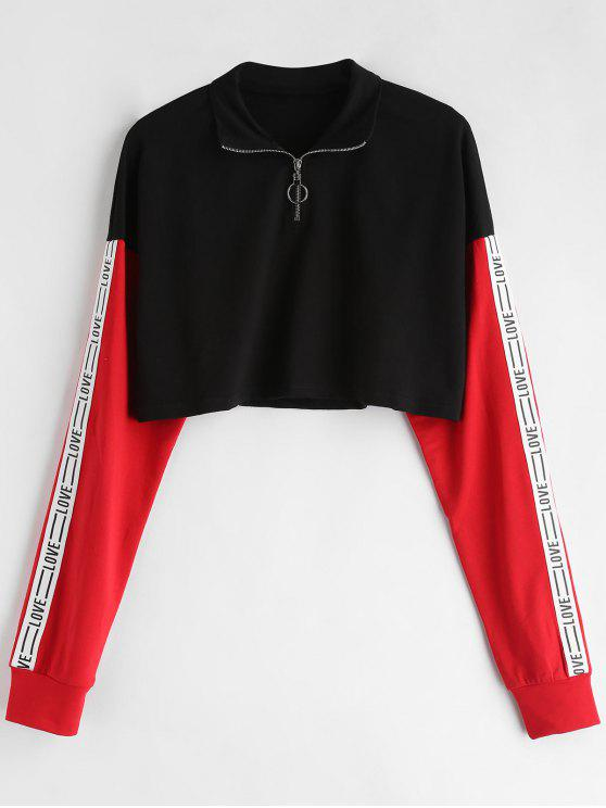 Sweat-shirt Court Graphique Zippé en Blocs de Couleurs - Noir L