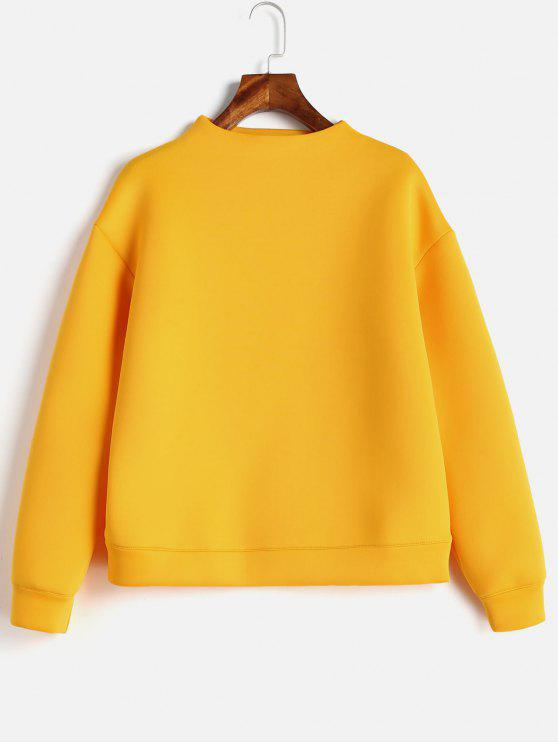 Plain Mock Neck Sweatshirt - Cerveza M