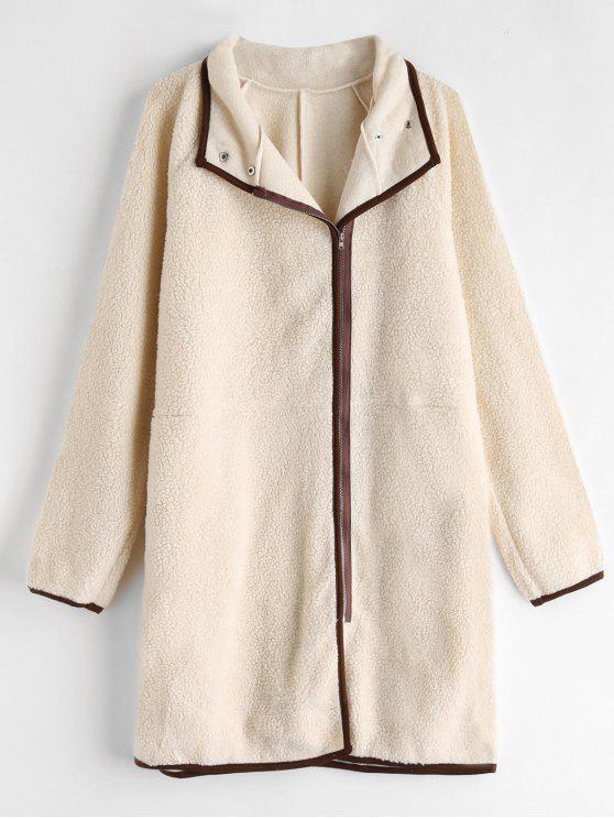 women's Zip Up Straight Fluffy Coat - APRICOT M