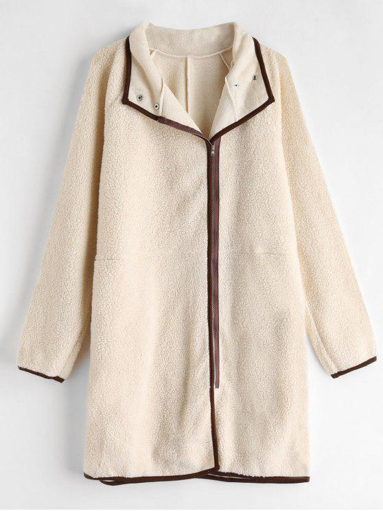 lady Zip Up Straight Fluffy Coat - APRICOT L