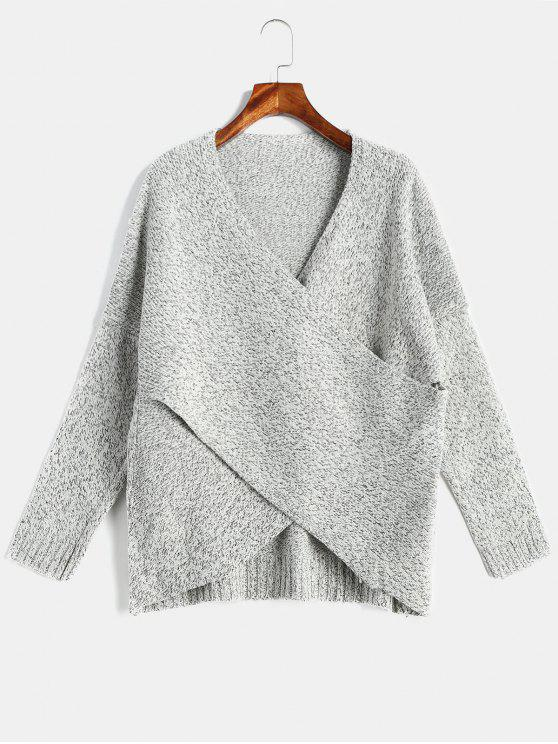 Pull à épaules dénudées Surplice Heather Drop - Gris L