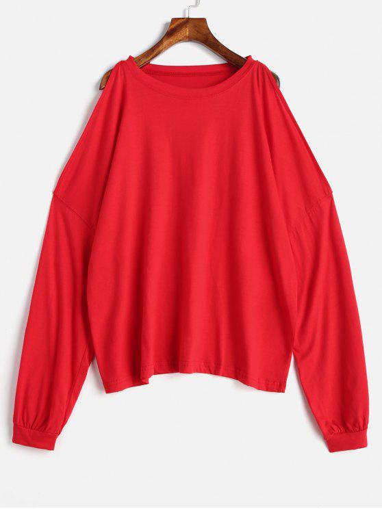 hot Open Shoulder Drop Shoulder T-shirt - RED ONE SIZE