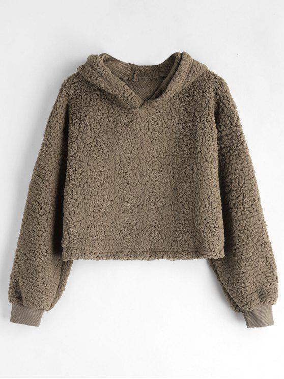 latest Drop Shoulder Fluffy Boxy Hoodie - COFFEE S