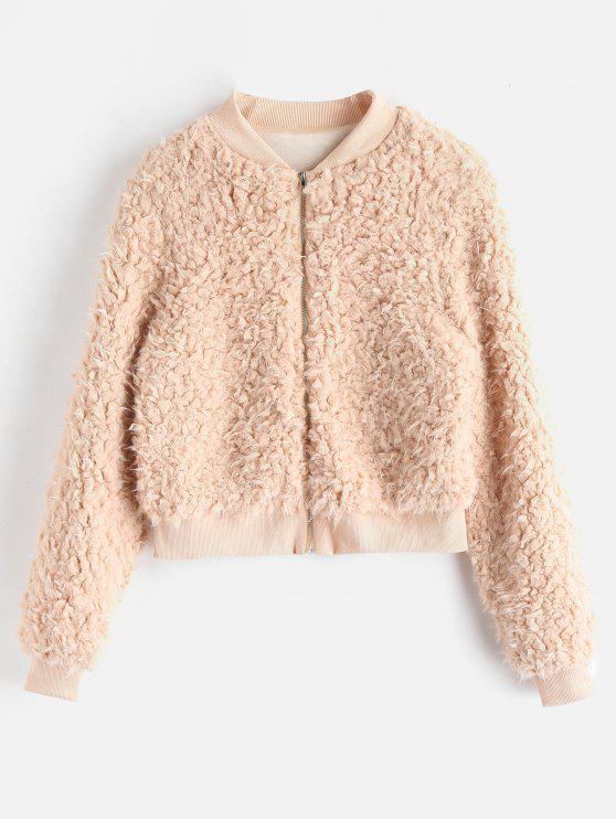 women's Fuzzy Faux Fur Bomber Jacket - CAMEL BROWN S