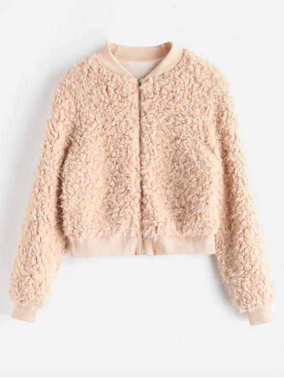 ladies Fuzzy Faux Fur Bomber Jacket - CAMEL BROWN M