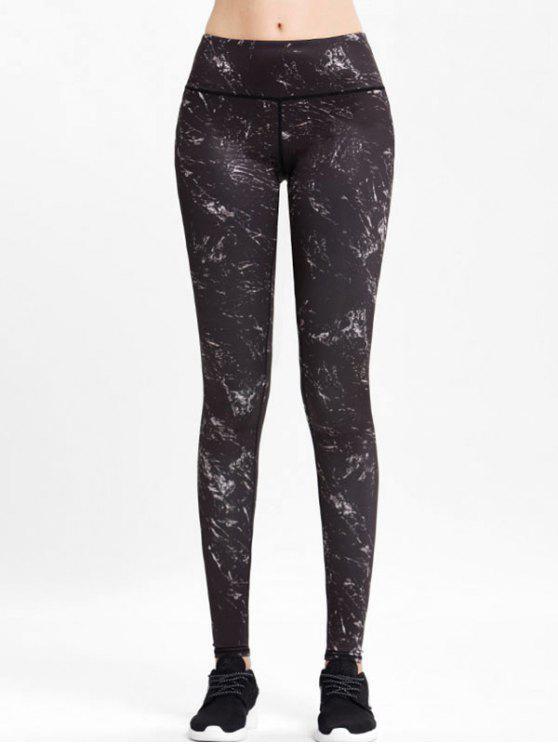 fashion High Rise Marble Sports Leggings - BLACK L