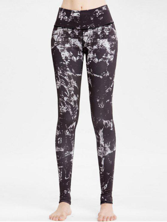unique Abstract Print High Waisted Workout Leggings - BLACK S