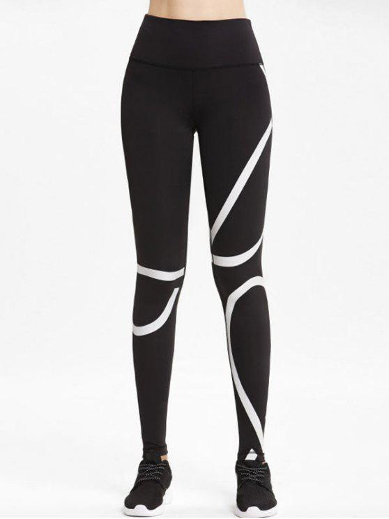 online High Rise Striped Sports Leggings - BLACK L
