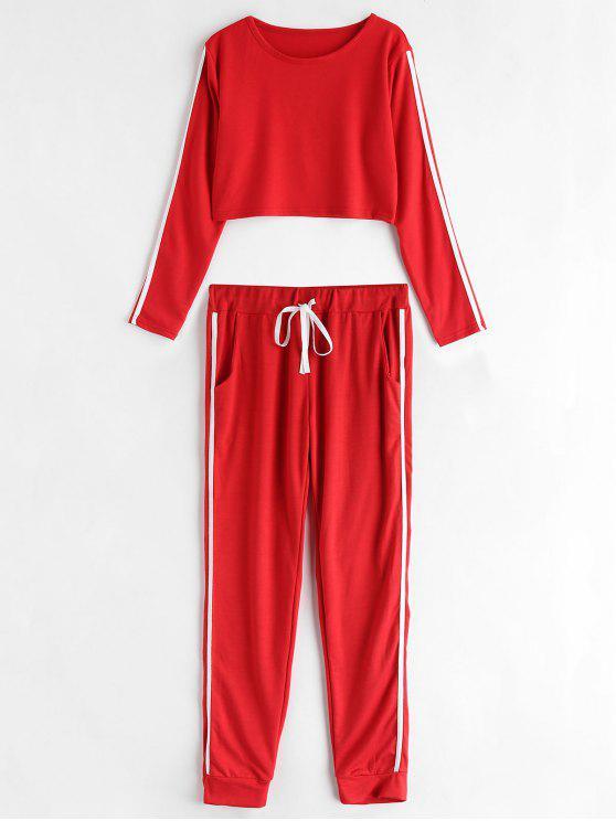 unique Striped Side Jogger Pants Set - RED L