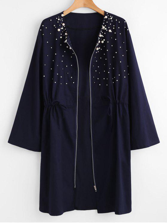 Cappotto Plus Size Con Cerniera E Perle - Blu Mezzanotte  1X