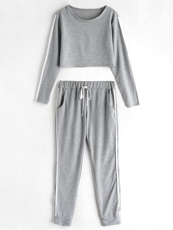Top E Pantaloni Da Jogging A Righe Laterali - Grigio XL