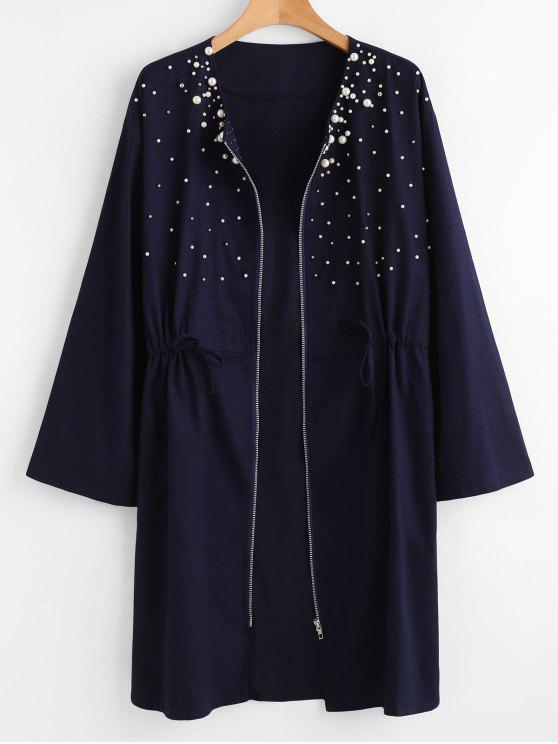 hot Plus Size Zipper Beaded Coat - MIDNIGHT BLUE 2X