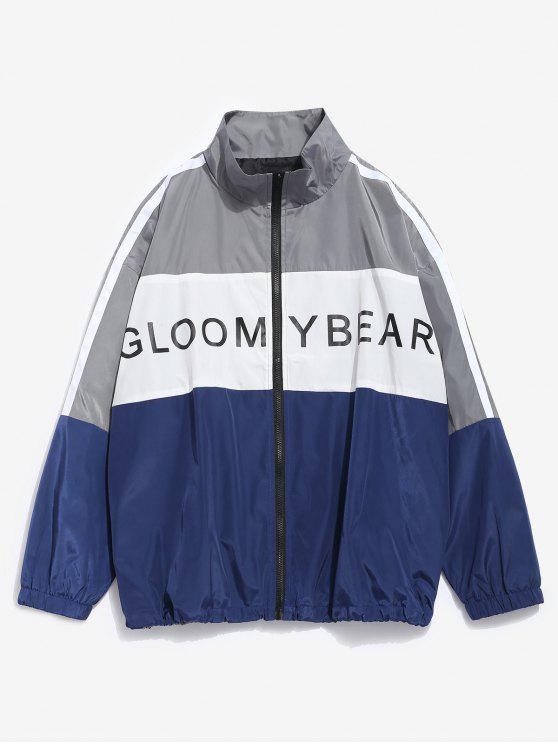 buy Color Block Letter Waterproof Jacket - CADETBLUE L