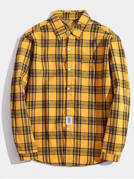 fashion Chest Pocket Patch Detail Plaid Shirt - YELLOW M