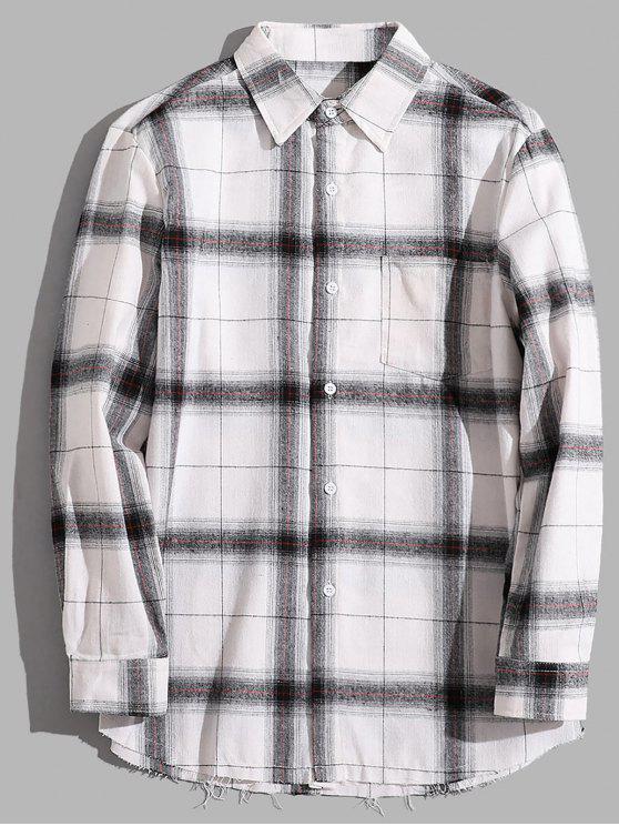 جيب الصدر الصدر عادية القميص - رمادي M