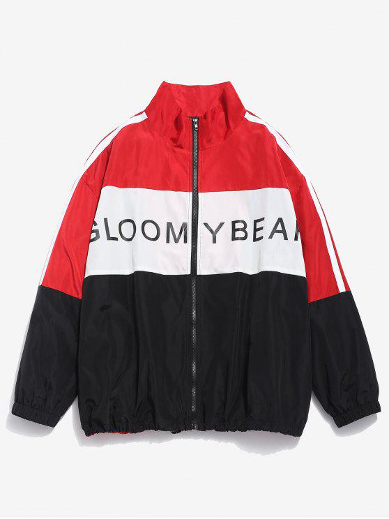 sale Color Block Letter Waterproof Jacket - FIRE ENGINE RED L