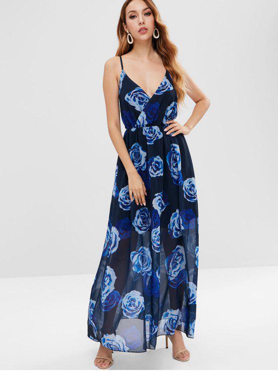 Vestido largo sin tirantes floral de Cami - Negro M
