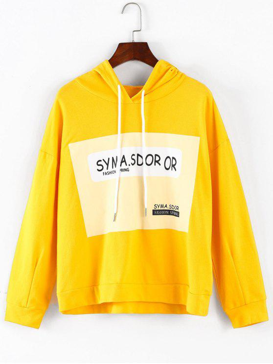 hot Letter Graphic Drawstring Hoodie - BRIGHT YELLOW M