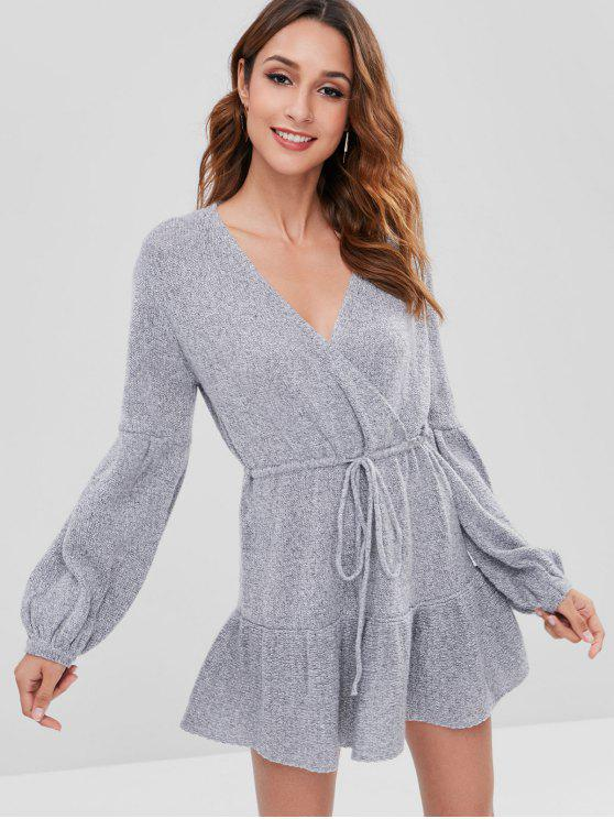 unique Surplice Long Sleeve Sweater Dress - GRAY M