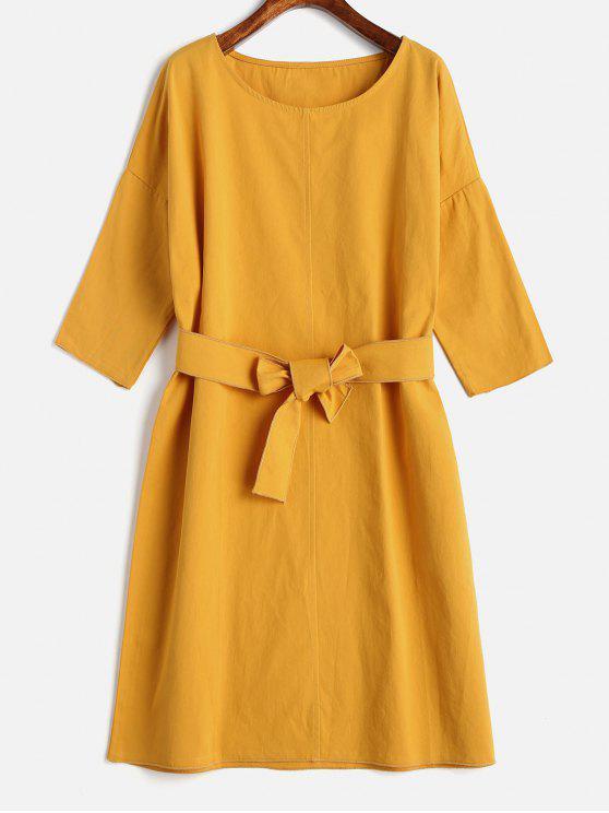 Mini Robe Droite Ceinturée - Jaune Clair Taille Unique