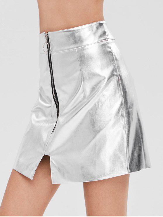 fancy Zip Fly Metallic Skirt - SILVER M