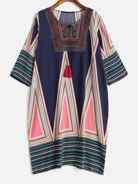 Plus Size Embroidered Tribal Print Dress MULTI