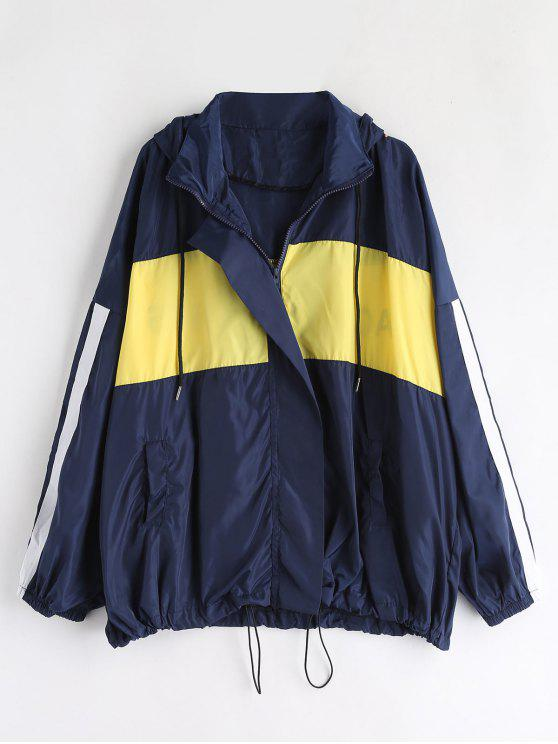 fashion Oversized Color Block Jacket - BLUE ONE SIZE