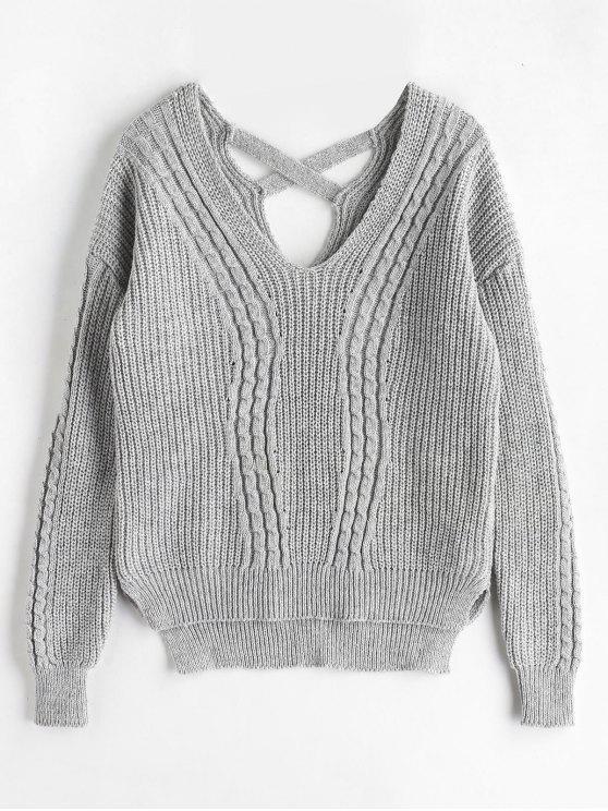 Kreuz zurück Kabel stricken Fischer Pullover - Grau Eine Größe