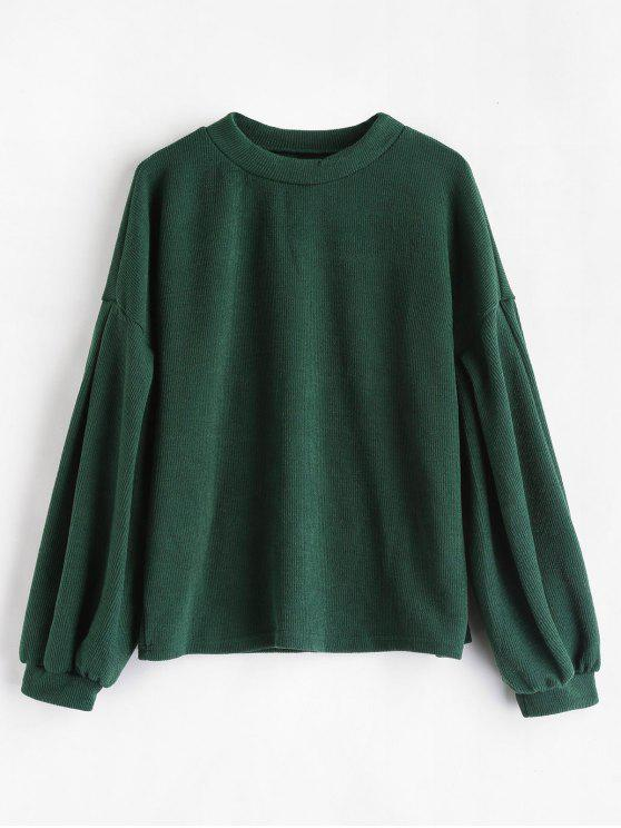 Hot Sale Crew Neck Puff Sleeve Pullover Sweater   Medium Sea Green M by Zaful