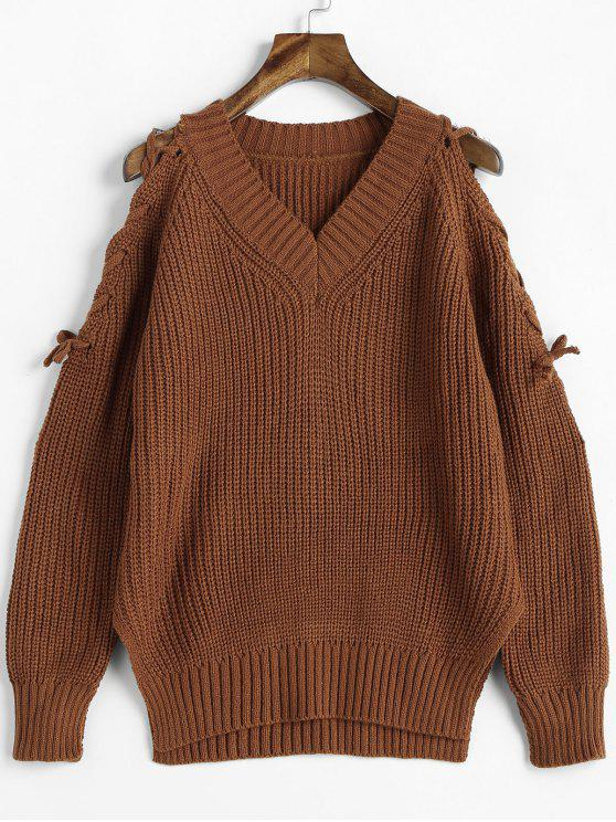 shops Lace Up Sleeve V Neck Sweater - BROWN ONE SIZE