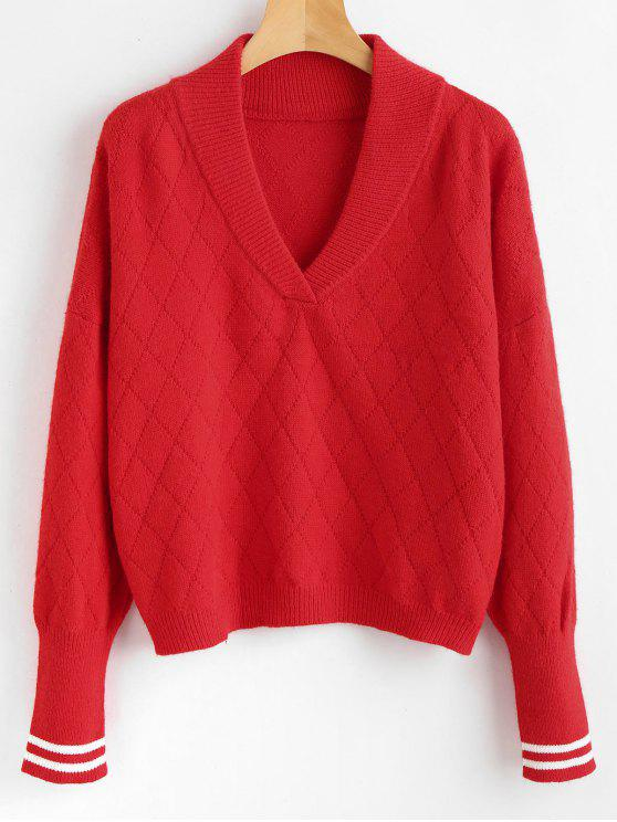 latest Shawl Collar Striped Sweater - RED ONE SIZE