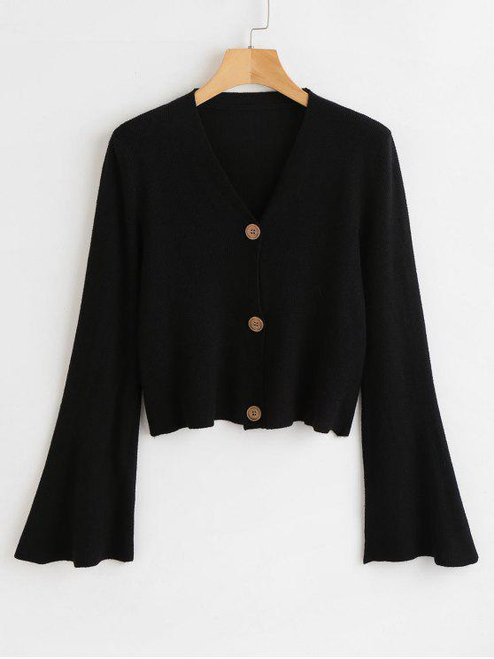 buy Button Up Flare Sleeves Cardigan - BLACK ONE SIZE