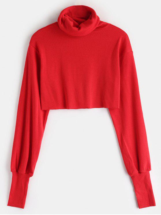 7fa1287c421b 26% OFF  2019 Rib Knit Turtleneck Cropped Sweater In RED