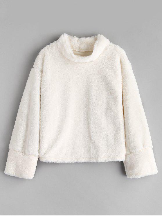 women's Fluffy Mock Neck Fuzzy Sweatshirt - WHITE S