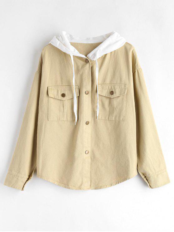 Druckknopf-Kontrast-Jacke - Aprikose Eine Größe