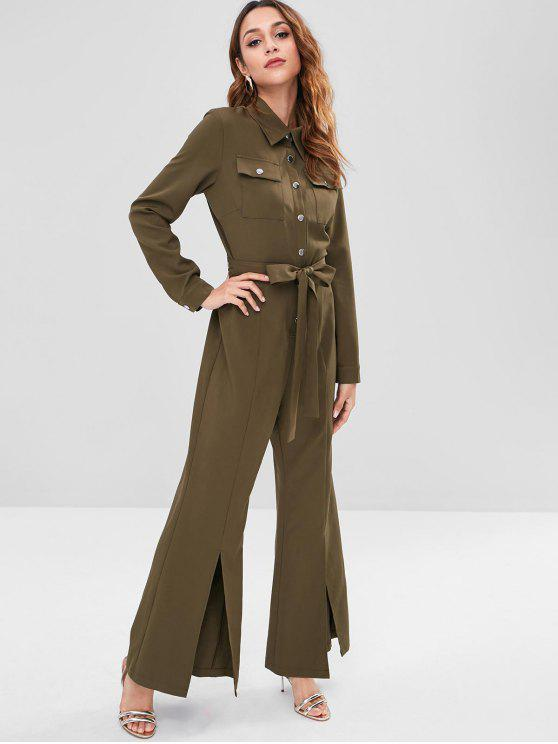 shop ZAFUL Long Sleeve Belted Shirt Jumpsuit - ARMY GREEN M