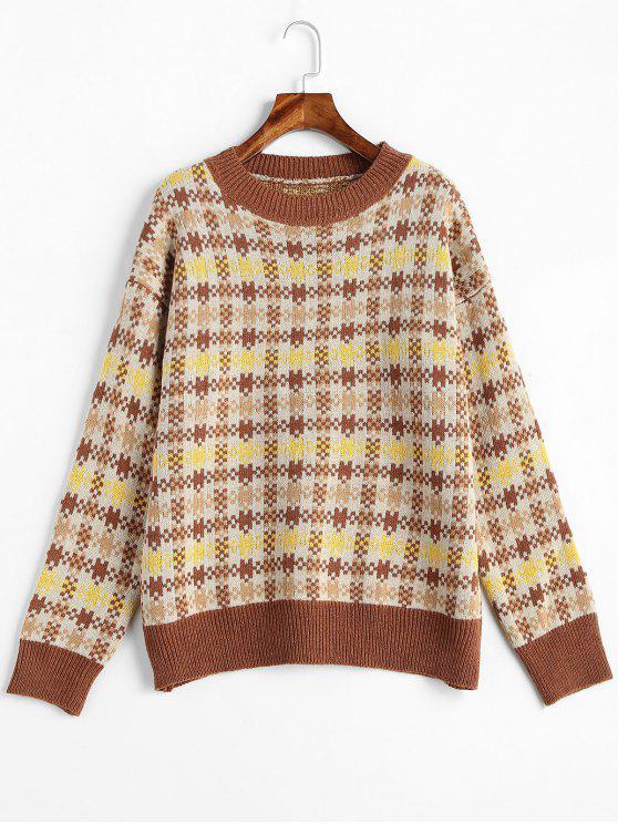 ladies Plaid Drop Shoulder Jumper Sweater - MULTI ONE SIZE