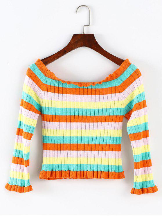 shop ZAFUL Off Shoulder Rainbow Stripe Cropped Sweater - MULTI M