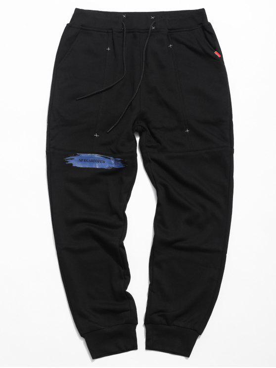 unique Drawstring Paint Letter Jogger Pants - BLACK XL