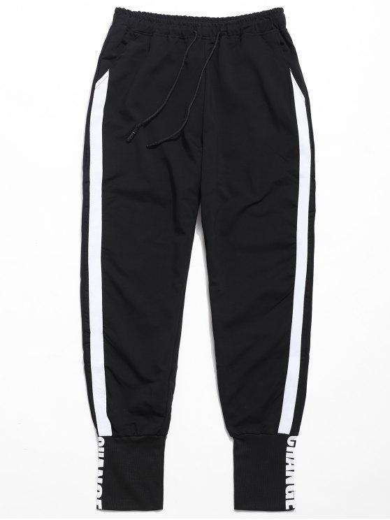 Pantaloni Da Jogging Di Colore A Contrasto Con Stampa Lettere - Nero XL