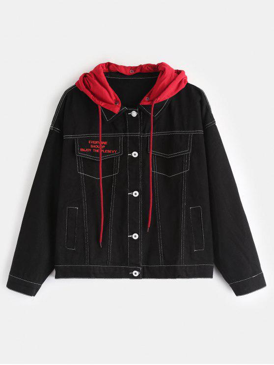 Kontrastierende abnehmbare Kapuze Jeansjacke - Schwarz Eine Größe
