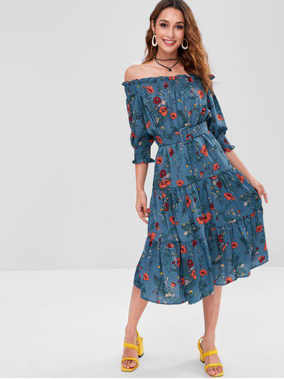 Fora do ombro vestido floral midi - Azul de Pavão L