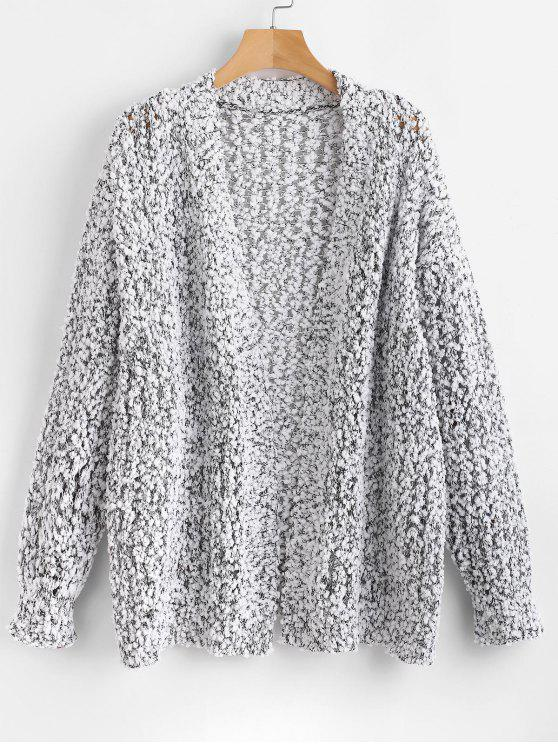 affordable Heathered Loose Knit Cardigan - WHITE M